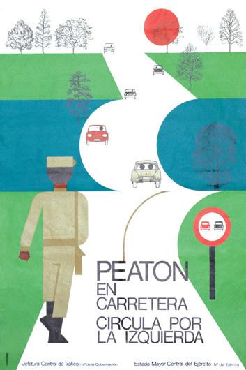 1973 Peaton En Carretera Circule Por Su Izquierda