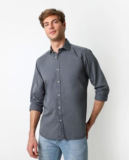 Camisa De Algodon De Hombre Regular Liso En Azul Claro