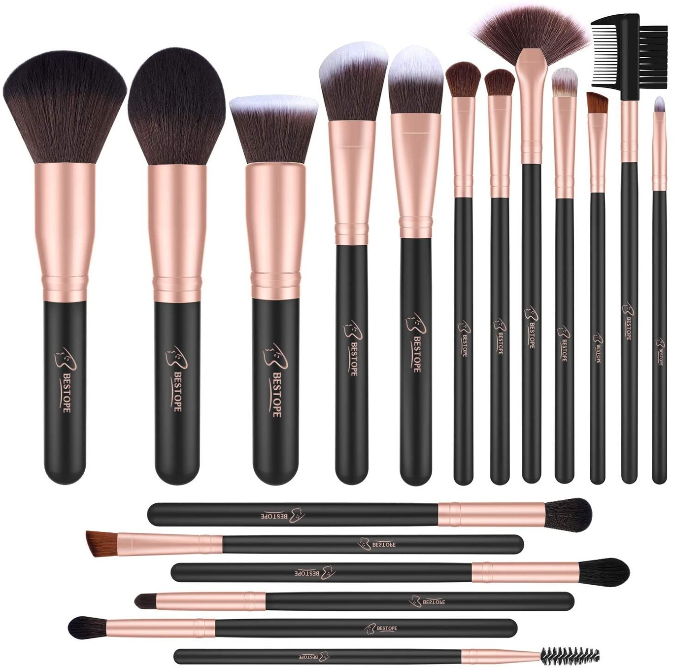 Set de brochas de maquillaje profesional BESTOPE 16 piezas Pinceles de maquillaje Set Premium Synthetic Foundation Brush Blending Face Powder Blush Concealers Kit de pinceles