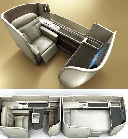 """""""Habitaciones"""" para pasajeros de primera clase en Japan Air Lines"""