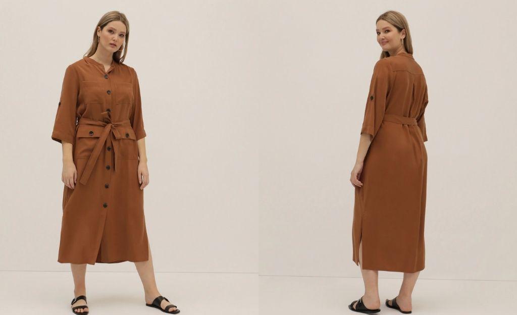 Vestido talla grande Couchel Collection liso con botones