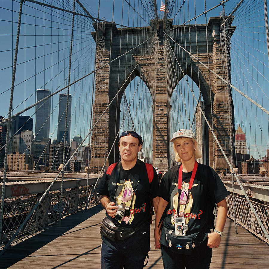 Couple With Matching T Shirts On Brooklyn Bridge Ny
