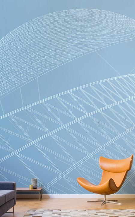 Papel Pintado Rascacielos Spiral Towers Diseno Arquitectonico Azul Lifestyle Web
