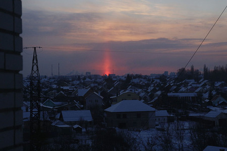 Light Pillar In Lipetsk Russia Thermobiont