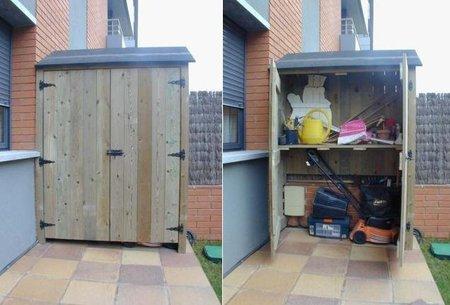 Armarios de madera para la terraza for Armario exterior para guardar bicicletas