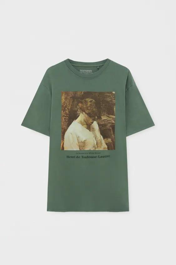 Camiseta verde con obra de Henri de Toulouse-Lautrec La pelirroja con blusa blanca (1889)