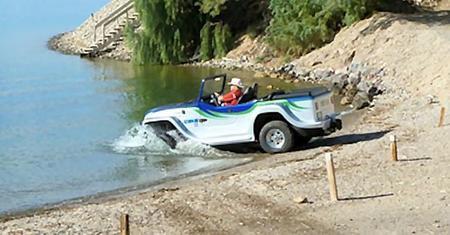 WaterCar pasando de tierra a agua