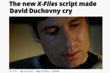 «David Duchovny llora con el guión de 'Expediente X'» y esos titulares de la era del retuit