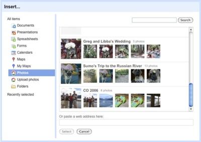 Google Sites añade integración con Picasa