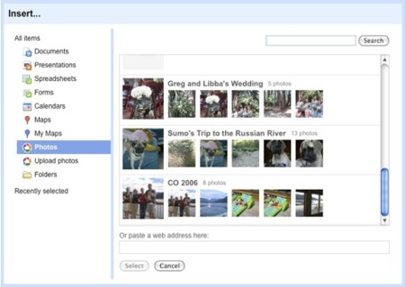 Google Sites añade integración con Picasa