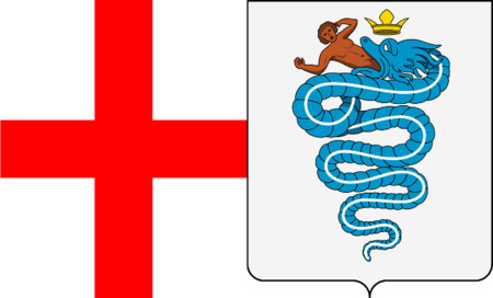 Logos de coches: Alfa Romeo. Bandera de Milán y Escudo Armas Casa Visconti 1395