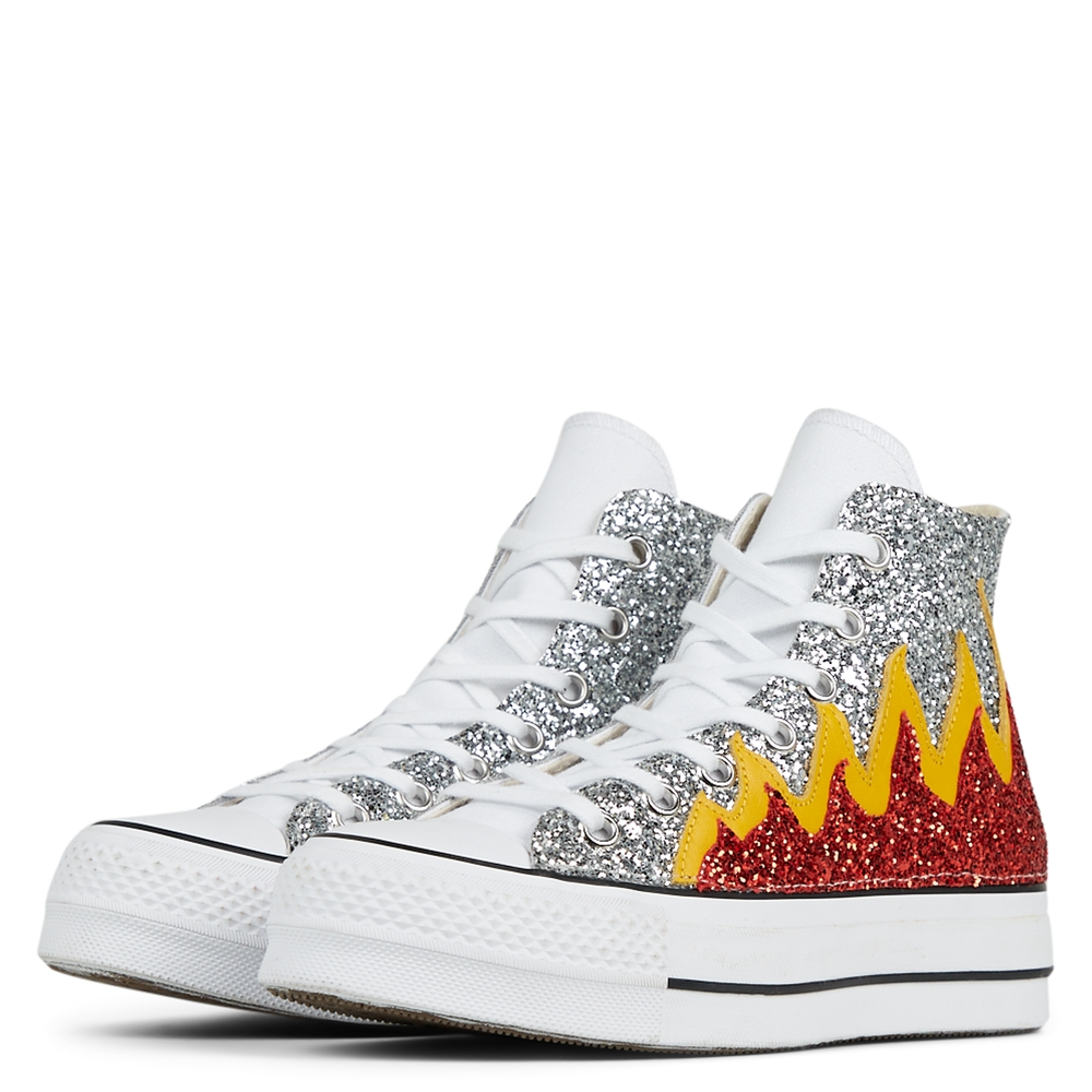 Glitter Flames Platform Chuck Taylor All Star High Top para mujer