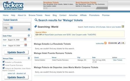 Tickex, motor de búsquedas de entradas para eventos