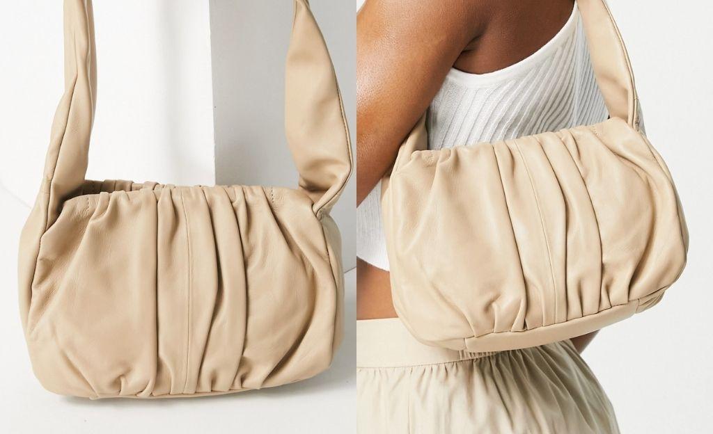 Bolso de hombro beis con diseño fruncido estilo años 90 de cuero de ASOS DESIGN