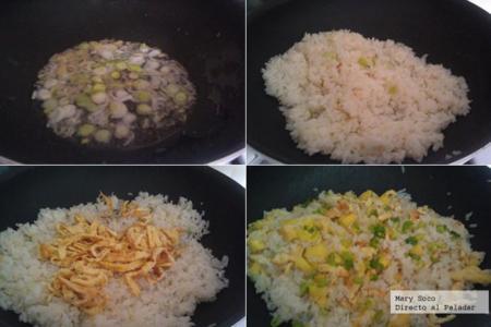 Arroz frito con jengibre y piña. Receta