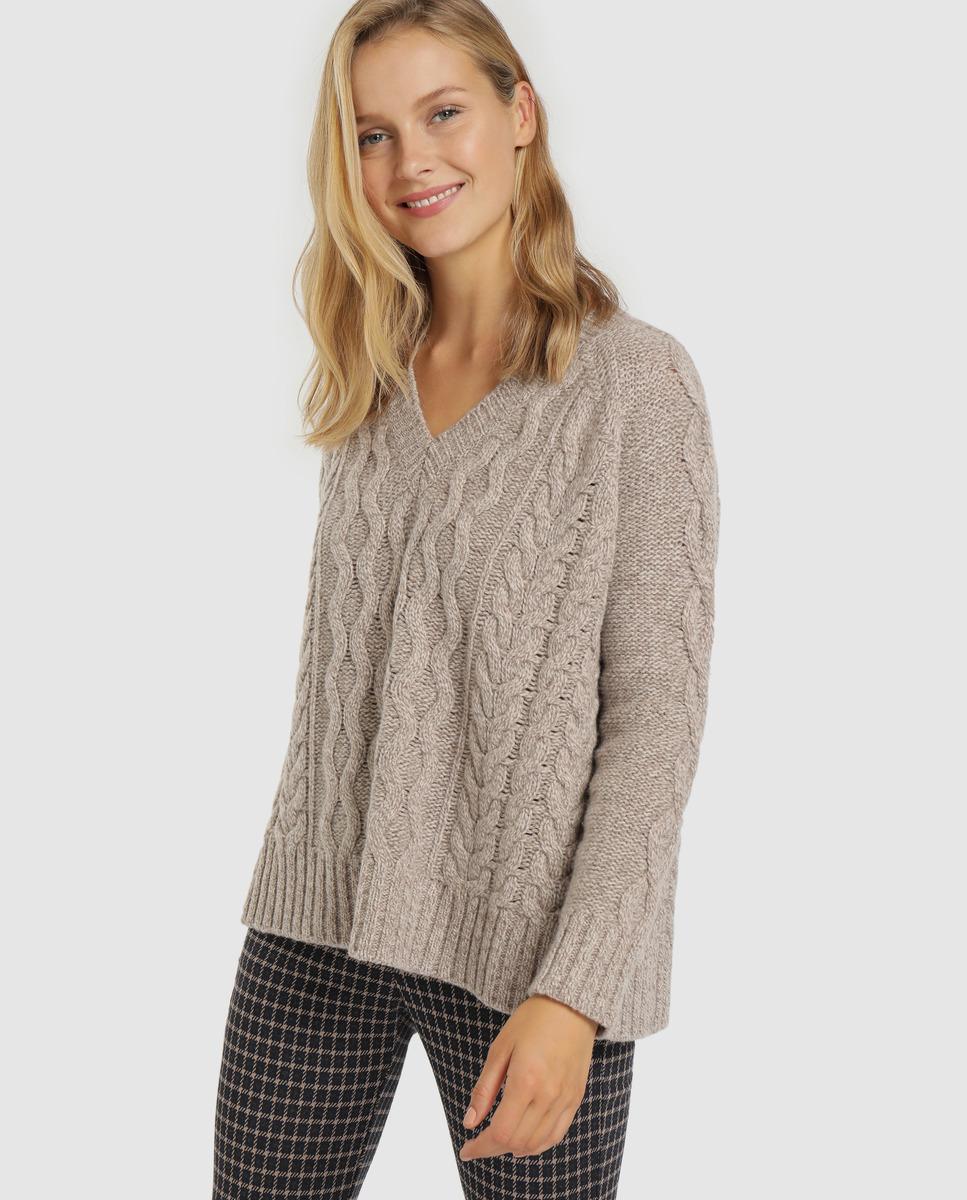 Jersey de mujer con trenzas 100% lana virgen