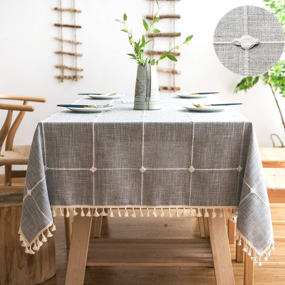 Sunbeauty Mantel Mesa Rectangular Lino Algodon con Borlas Manteles Antimanchas 140x180 cm Table Cloth Rectangle Tablecloth para Mesa de Comedor
