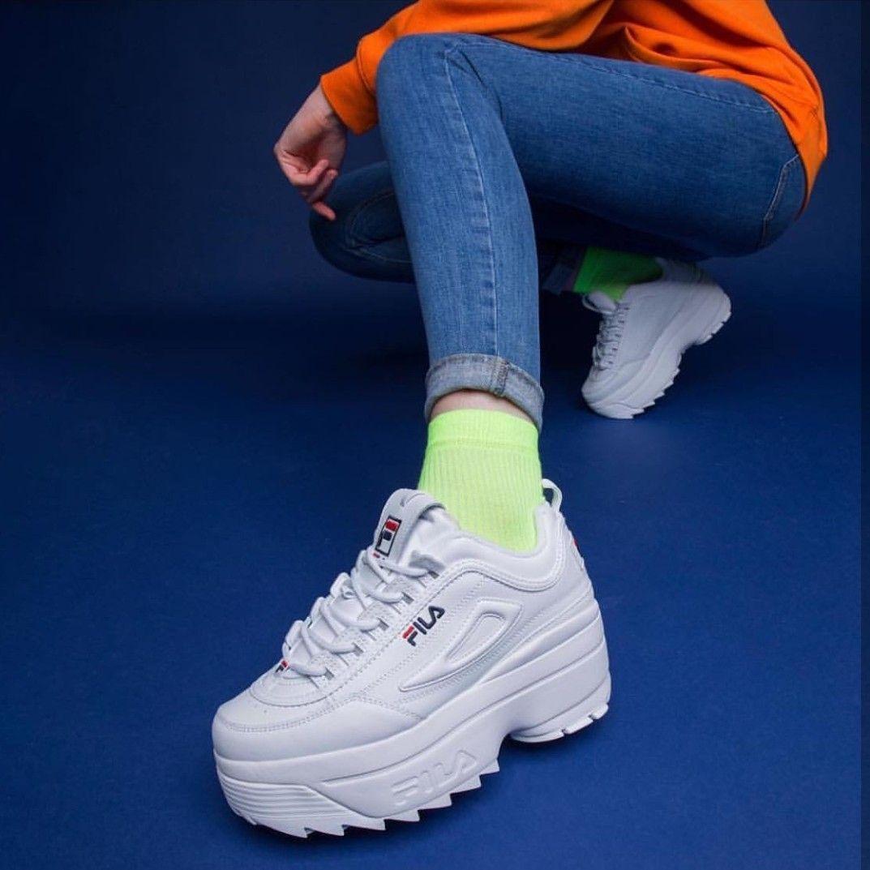 Zapatillas blancas con cuña y plataforma Disruptor II de Fila