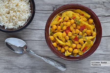 Curry Rapido De Pollo Y Garbanzos