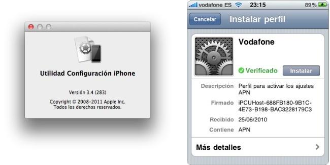 Configuración datos iPhone