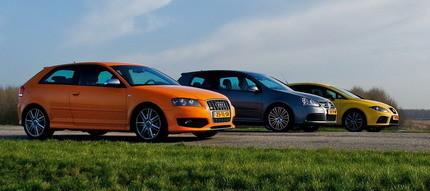 Audi S3, Seat Leon Cupra y Volkswagen Golf R32