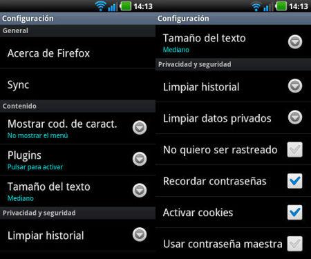 Opciones de configuración de Firefox 14 para Android