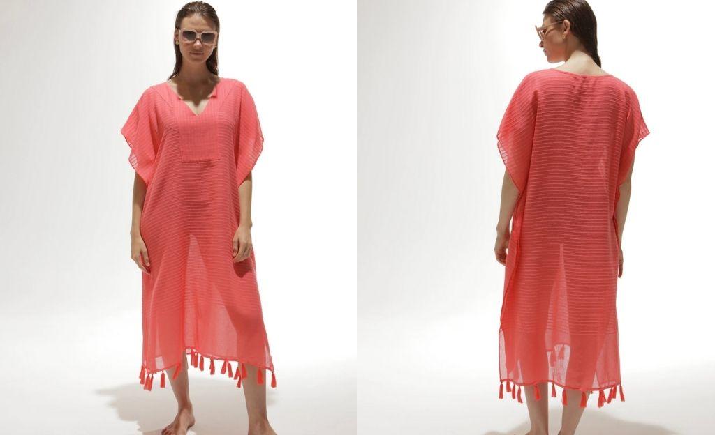 Caftán largo de algodón El Corte Inglés en tono coral con rayas