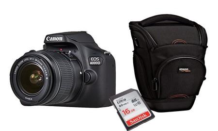En Amazon, tienes ahora la básica Canon EOS 4000D con objetivo, funda y tarjeta de memoria por sólo 254,15 euros