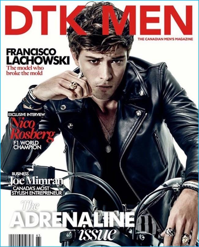 Francisco Lachowski cual motero y chico malo en la portada de DTK Men