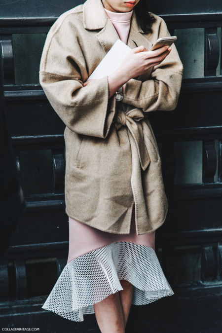 Pfw Paris Fashion Week Fall 2016 Street Style Collage Vintage Belted Coat