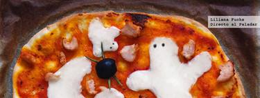 Pizza fácil con fantasmas y arañas. Receta de Halloween