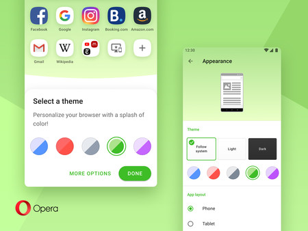 More colour to the interface of Opera 54