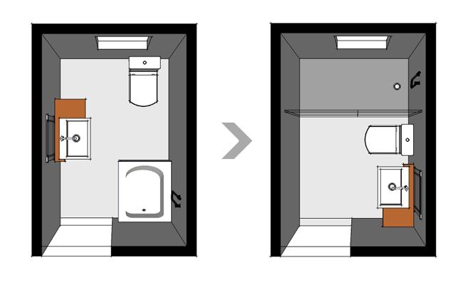 Diseño y distribución de baños - vista cenital