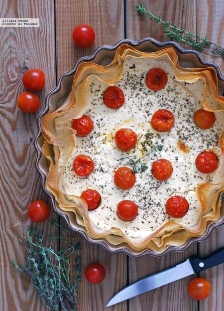 Tarta Salada de Queso de cabra y tomatitos