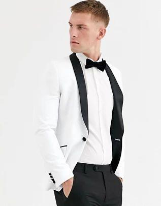 Chaqueta de esmoquin muy ajustada en blanco con solopa en negro de ASOS DESIGN