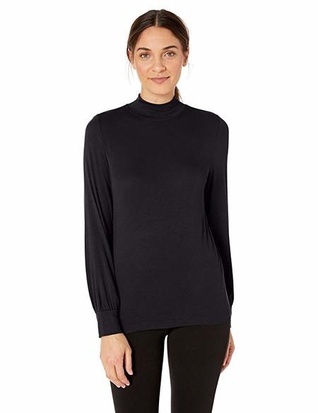 Marca Amazon - Lark & Ro - Blusa de punto con manga larga y cuello alto para mujer