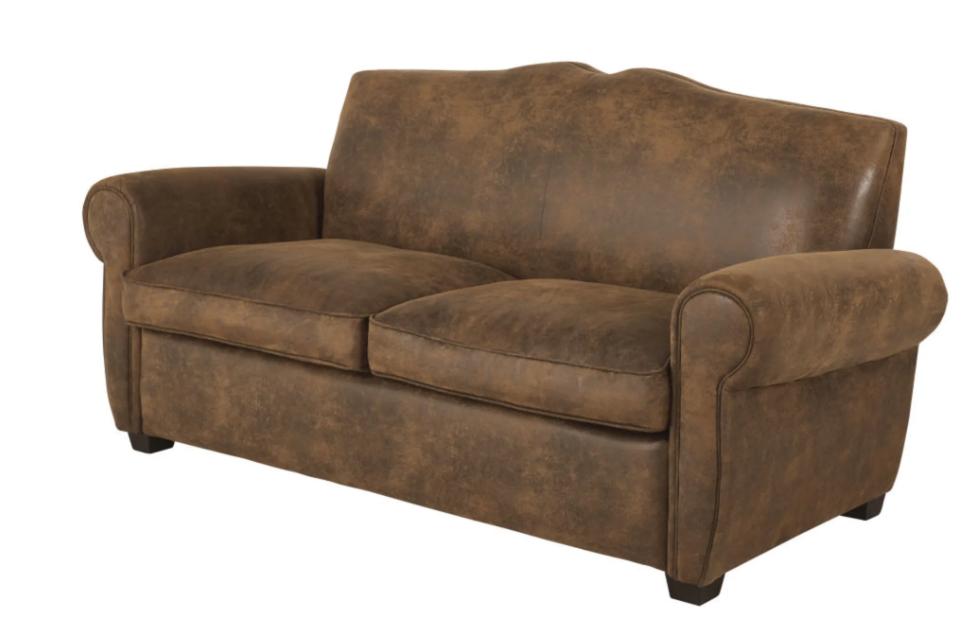 Sofá cama de 2 plazas de antelina marrón, Moustache