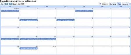 Calendario para pymes y autónomos del mes de junio 2009
