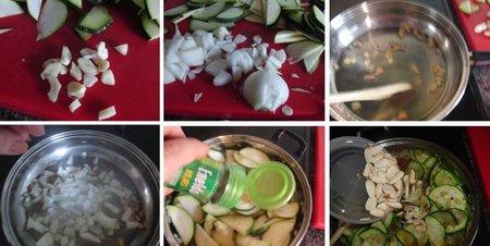 Preparación del salteado de calabacín