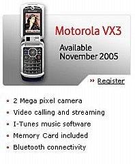 Motorola VX3, en Noviembre y con iTunes