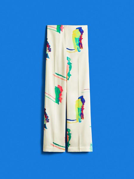 Pantalon Estampado De SatenPantalón estampado de satén