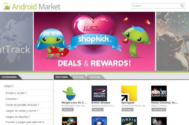google android market web store applicaciones