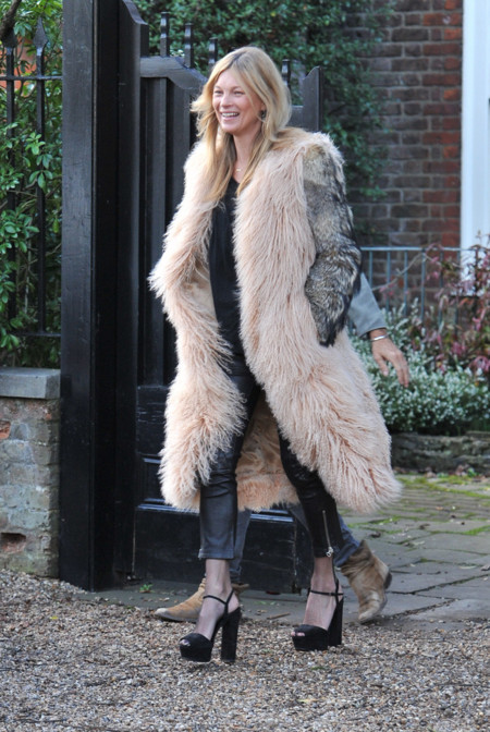 Kate Moss Abrigo Piel