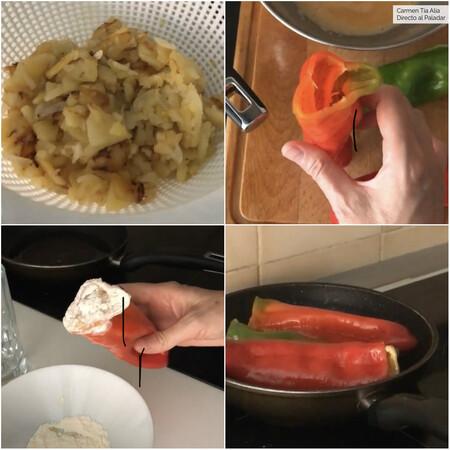 Paso A Paso Pimientos Rellenos De Tortilla De Patatas