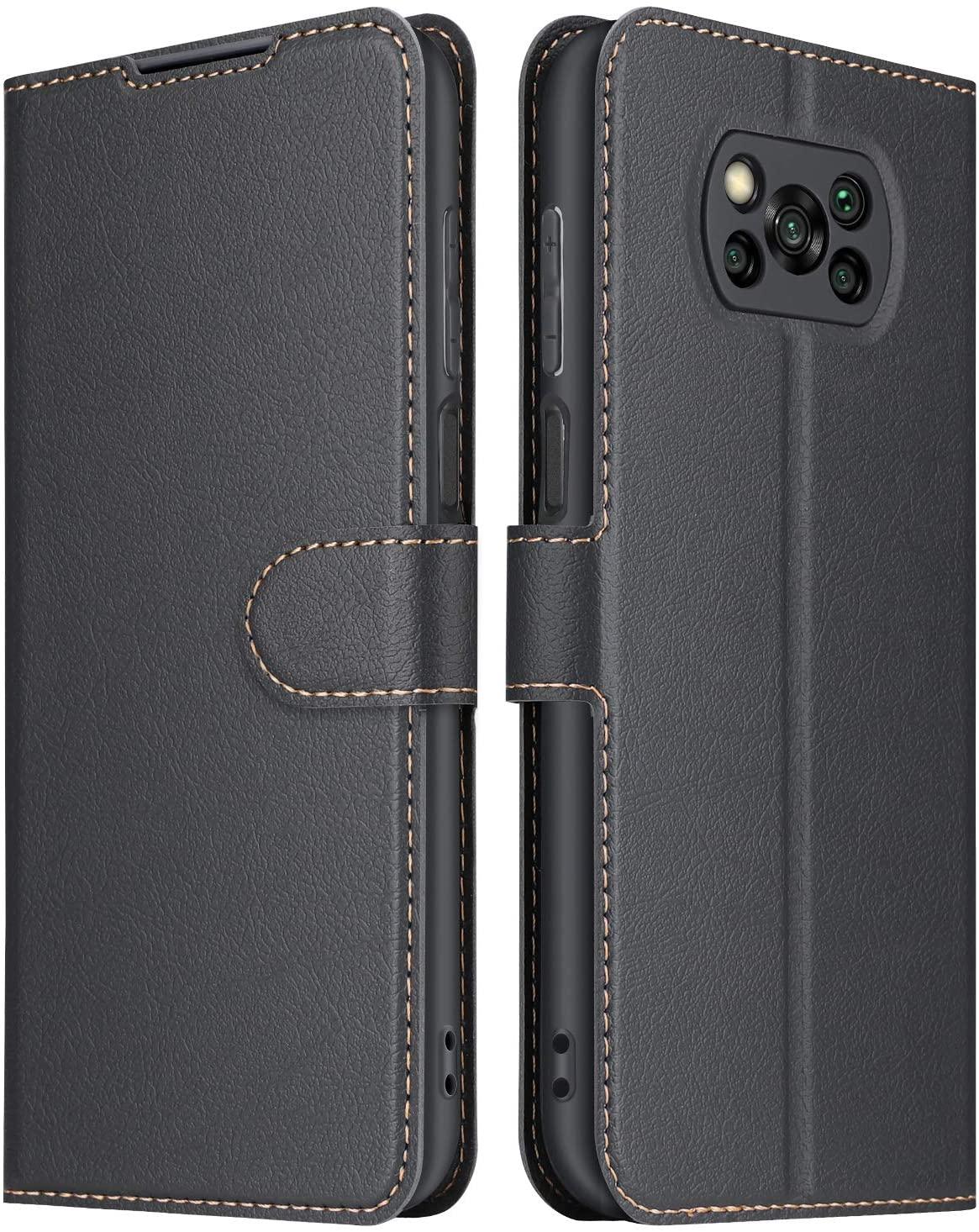 ELESNOW Funda Xiaomi Poco X3 NFC/Poco X3 Pro, Cuero Premium Flip Folio Carcasa Case para Xiaomi Poco X3 NFC (Negro)