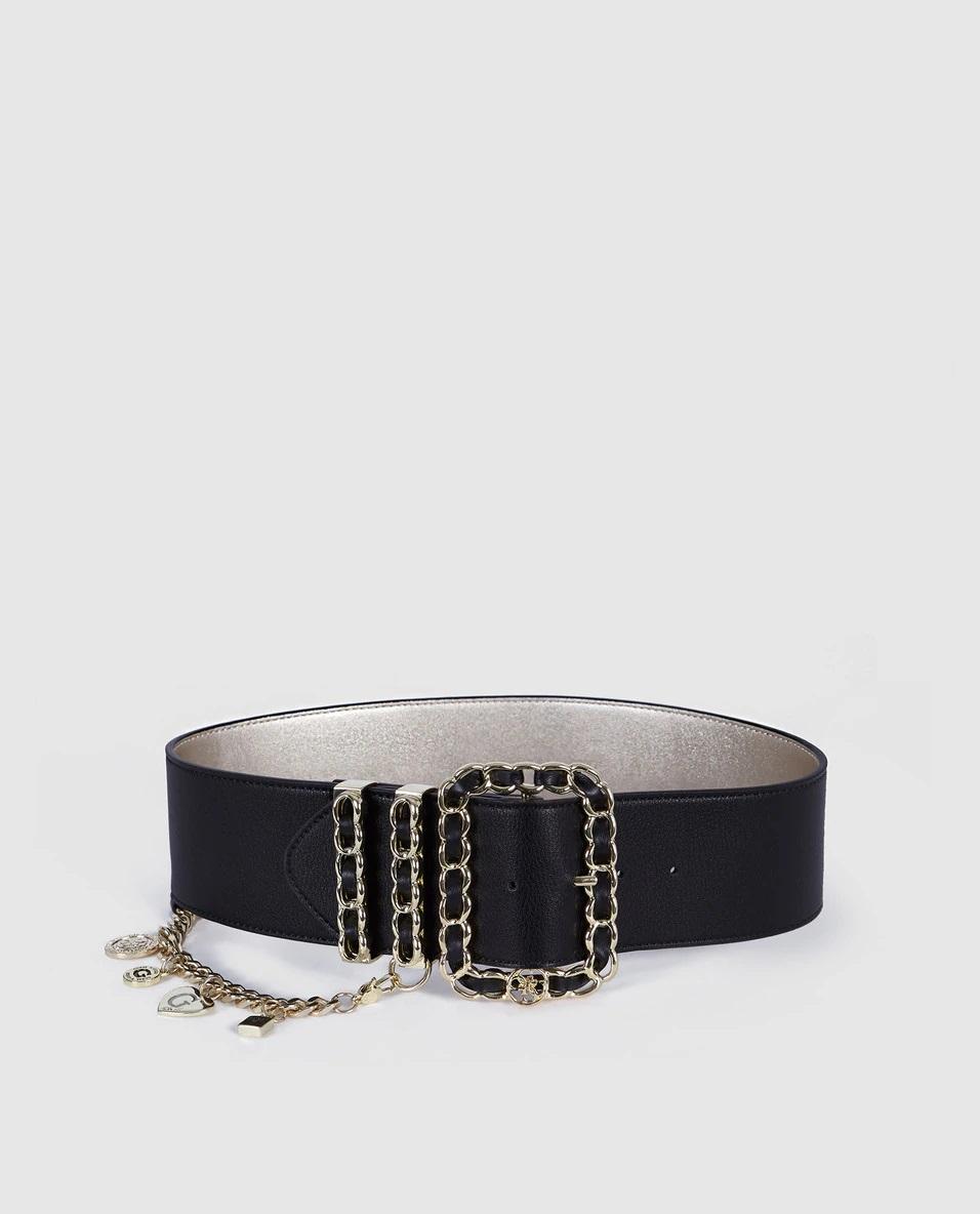Cinturón ancho de piel con detalles encadenados de Guess