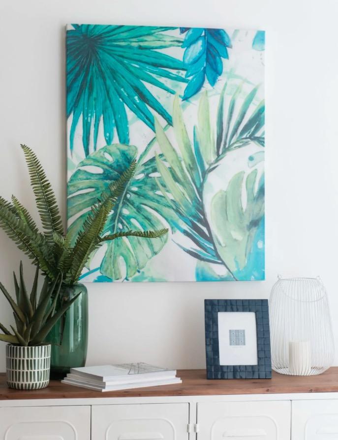 Lienzo con estampado de hojas tropicales verdes y azules 65x82