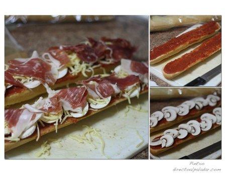Barritas de pan al horno con champiñón y jamón ibérico. Pasos