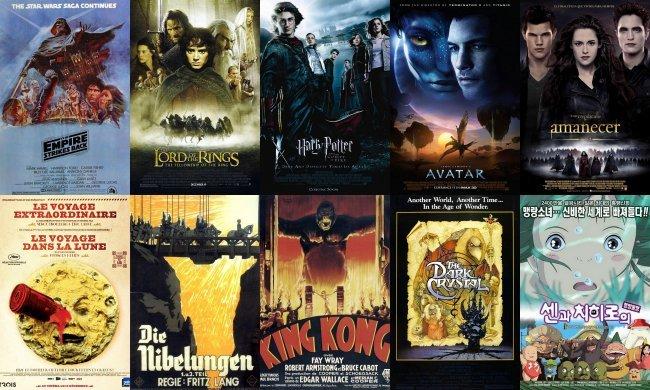 Los carteles de diez relevantes películas de fantasía