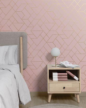Papel geométrico en rosa y dorado